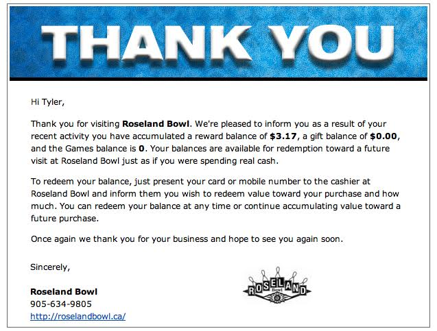 Bowling rewards this email also reports fundraising donations earned if tied to a charitable organization you agree to support the thank you note provides a nice warm maxwellsz